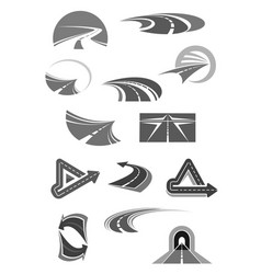 road icons of travel construction company vector image vector image