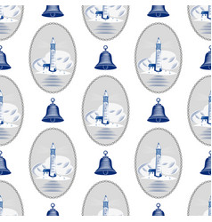 sea lighthouse pattern marine boat wheel vector image