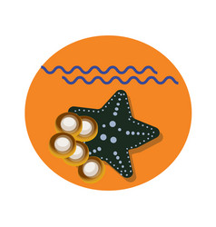 Sea star flat icon with shadow and sea vector