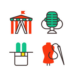 set of art icons in flat design camera picture vector image vector image