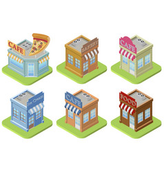 Set of isometric buildings vector