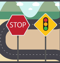 Stop and traffic signs with street country road vector