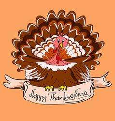 Thanksgiving card with turkey bird vector image