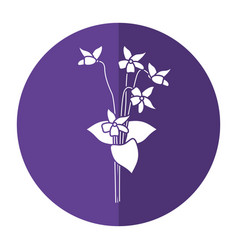 Violet flower nature spring icon shadow vector