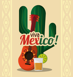viva mexico - cactus guitar and drink tequila vector image