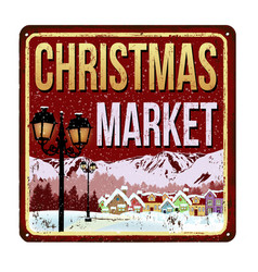 Welcome to christmas market vintage rusty metal vector