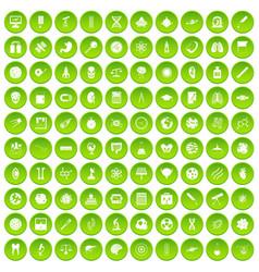 100 science icons set green circle vector