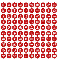 100 victory icons hexagon red vector