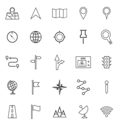 Navigation line icons on white background vector image