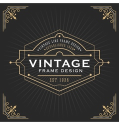 Vintage line frame design for label vector