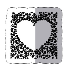 Sticker border of creepers in heart shape vector
