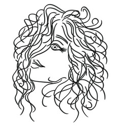 Girl with flowing curly hair vector