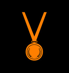 Medal simple sign orange icon on black background vector