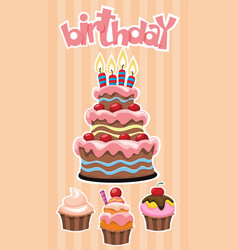 Colorful birthday desserts template vector