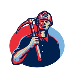 Coal miner pick axe retro vector