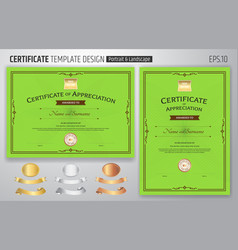 Set of certificate of appreciation template with vector