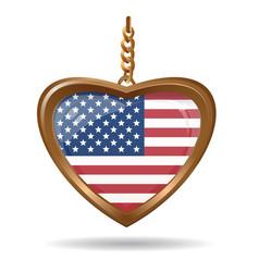 Usa flag inside of a gold medallion vector