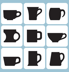 Cup silhouettes set vector