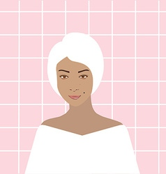 Woman in bathroom vector