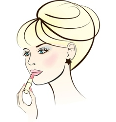 Woman with lipstick vector
