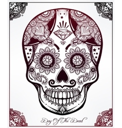 Sugar skull in floral frame vector