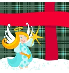 Christmas angel and big present vector