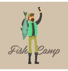 Fisher Making a Selfie with Fish vector image