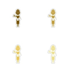 Concept paper stickers on white background girl vector