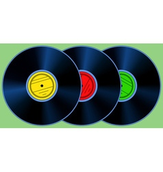 Gramophone records set vector image