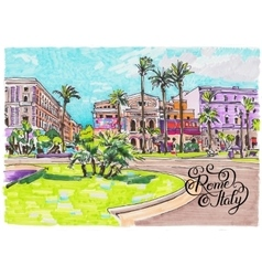 Marker painting of rome italy cityscape with hand vector