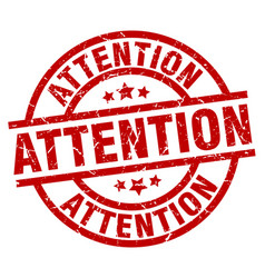 Attention round red grunge stamp vector
