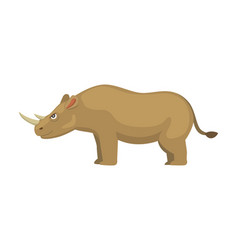 cartoon funny rhinoceros isolated on white vector image vector image