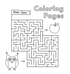 cartoon owl maze game vector image vector image