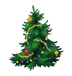 Christmas tree with decorations isolated vector image