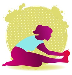 Colorful of yoga asana silhouette for stretching vector image