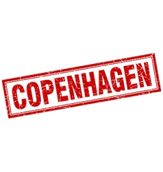 Copenhagen red square grunge stamp on white vector