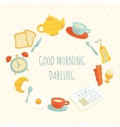 Cute morning breakfast frame vector