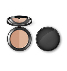 Face cosmetic makeup powder in case with mirror vector