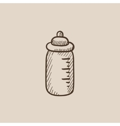 Feeding bottle sketch icon vector image