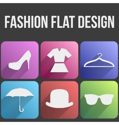 Flat icon set fashion for web and application vector