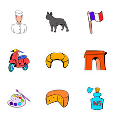 french republic icons set cartoon style vector image vector image