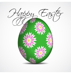Greeting card with text floral easter egg vector