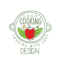 Hand drawn culinary logo design with pepper in a vector