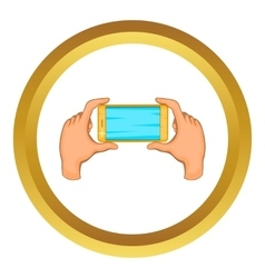 Hands holding cell phone icon vector