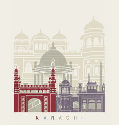 Karachi skyline poster vector