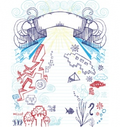 notepad doodles vector image vector image