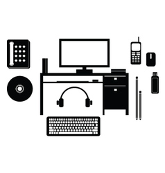 Object computer objects icon set vector