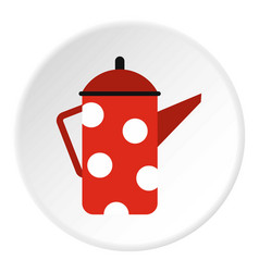 Red metal kettle with white polka dots icon vector