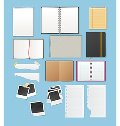 Set include notebooks and papers vector image vector image