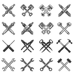 Set of the crossed tools and car parts design vector